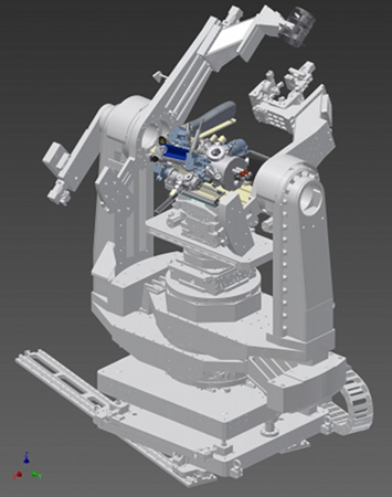 System installed on goniometer at beamline facility (CAD rendering)