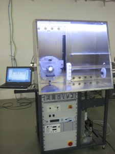 Magnetron sputtering chamber integrated in glovebox system; front view